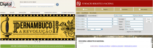 """Pantalla Búsqueda Biblioteca Nacional do Brasil por """"Acervo Digital"""" y por """"Catálogos"""""""