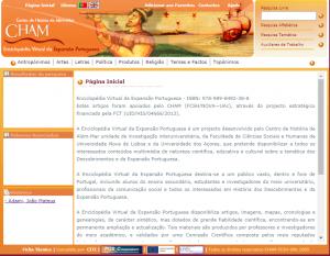 Página principal de la Enciclopédia da Expansão Portuguesa.