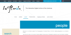Página de búsqueda de personajes de La Florida: The Interactive Digital Archive of the Americas.
