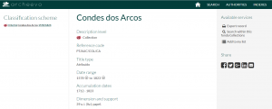 """Ficha de la colección """"Condes dos Arcos"""""""