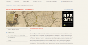 Página principal del Projeto Resgate Barão do Rio Branco