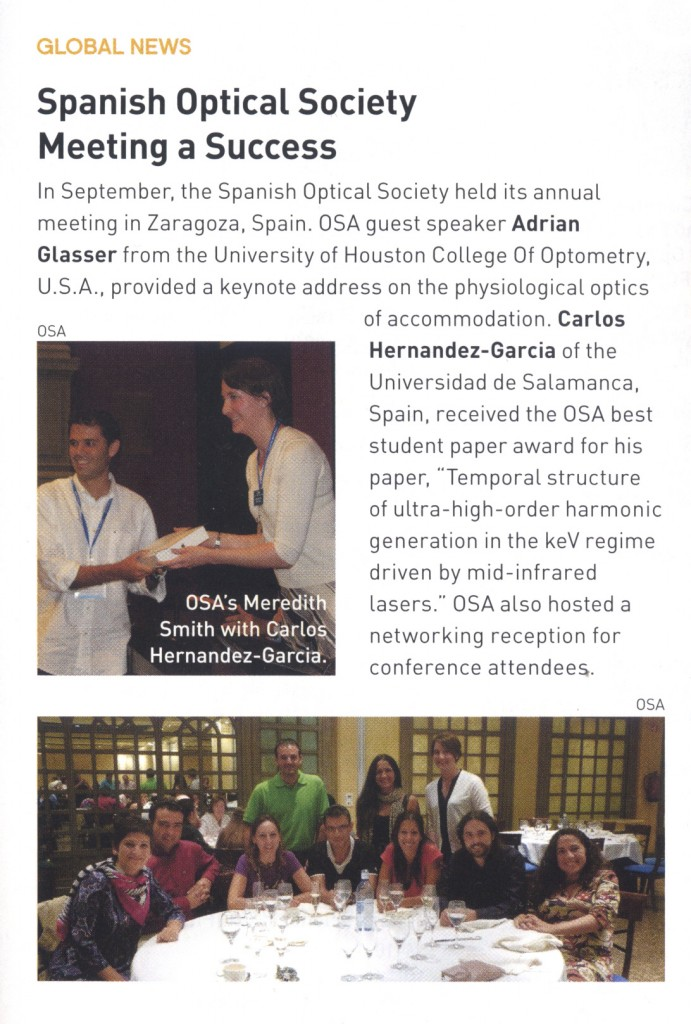 OSA best student award to Carlos Hernández-García
