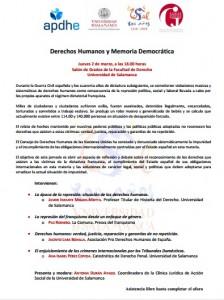 Seminario: DERECHOS HUMANOS Y MEMORIA DEMOCRÁTICA @ Facultad de Derecho - Salón de Grados   Salamanca   Castilla y León   España