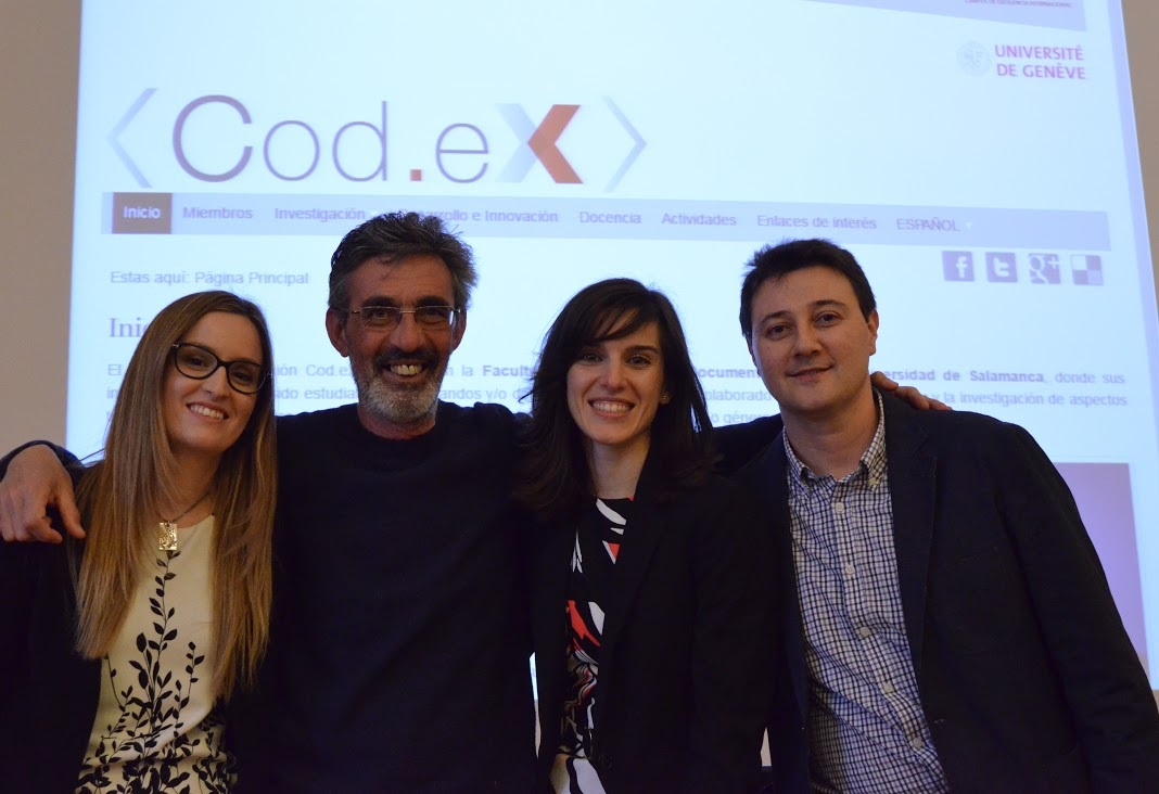 Lucía, Emilio, Silvia and Jesús, members of the Cod.eX Research Group