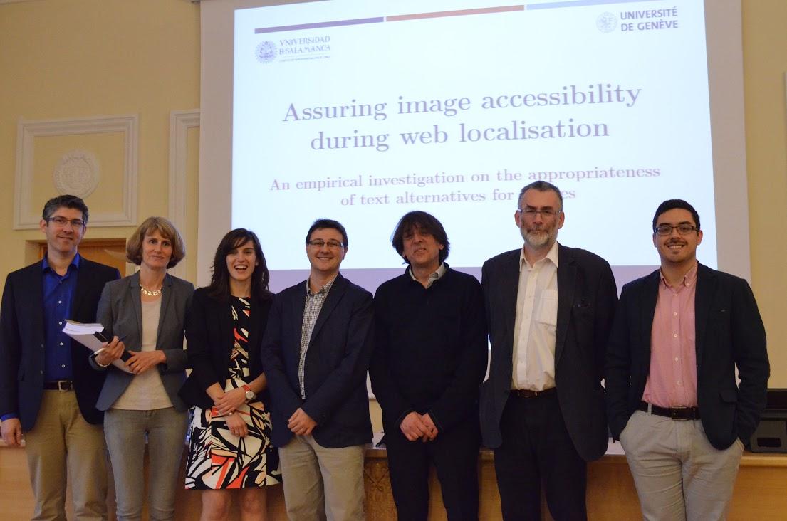 Silvia con los miembros de su Tribunal de tesis doctoral el día de la defensa