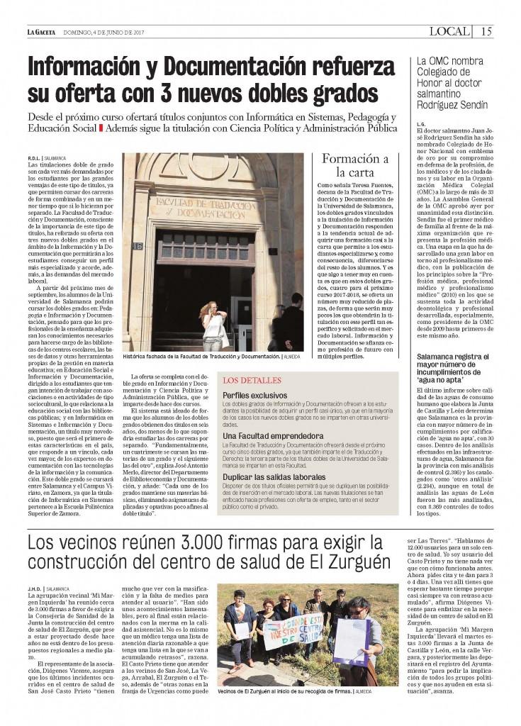 Noticia en edición impresa La Gaceta 4 junio 2017 [PDF]