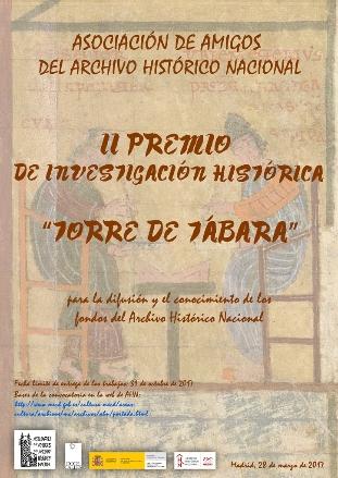"""La Asociación de Amigos del Archivo Histórico Nacional convoca el II premio de Investigación """"Torre de Tábara"""" para la difusión y el conocimiento de los fondos del Archivo Histórico Nacional. El plazo de presentación de los originales es hasta el 31 de octubre de 2017."""