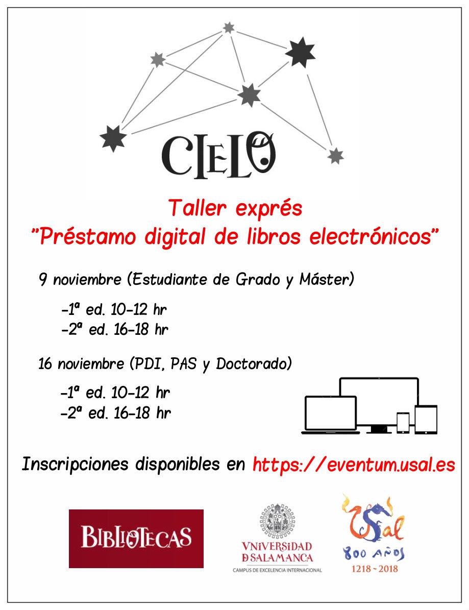 El Servicio de Bibliotecas de la Universidad de Salamanca ha organizado diferentes sesiones del taller de préstamo digital de libros electrónicos.El objetivo del taller es acercar el préstamo de documentos electrónicos alojados en la plataforma CIELO.