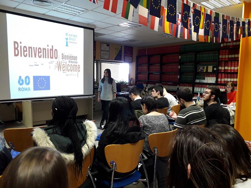 El día 23 de febrero de 2o18, los alumnos y las alumnas de la asignatura Introducción a la Información y Documentación del Grado de Información y Documentación visitaron el Centro de Documentación Europea de Salamanca.