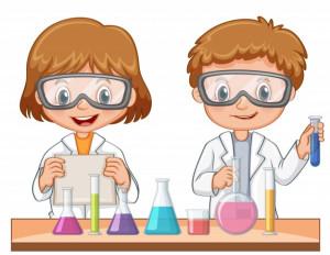 Dos estudiantes haciendo un experimento