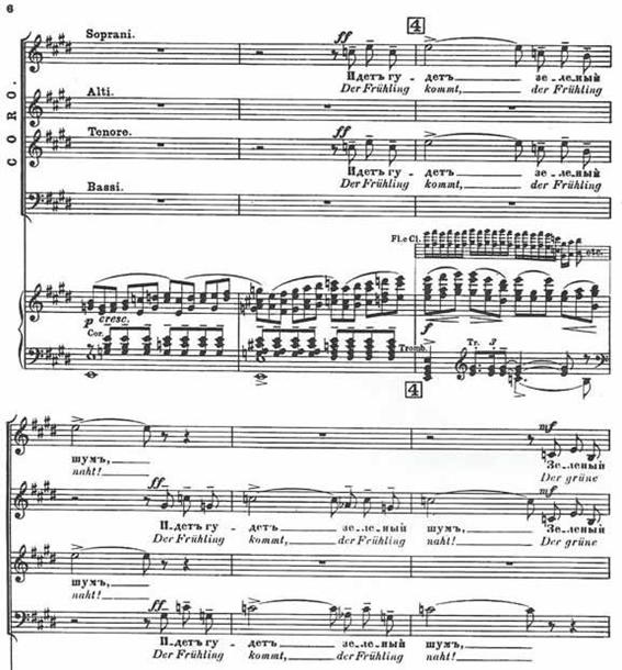 Fragmento de la Cantata de primavera de Rajmáninov, con palabras en ruso, la lengua original, y su traducción al alemán. © Copyright 1903 de Hawkes & Son (London) Ltd. Reproducido con la autorización de Boosey & Hawkes Publishers Ltd.
