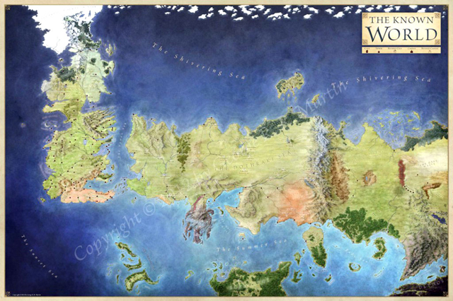 The World map for Game of Thrones
