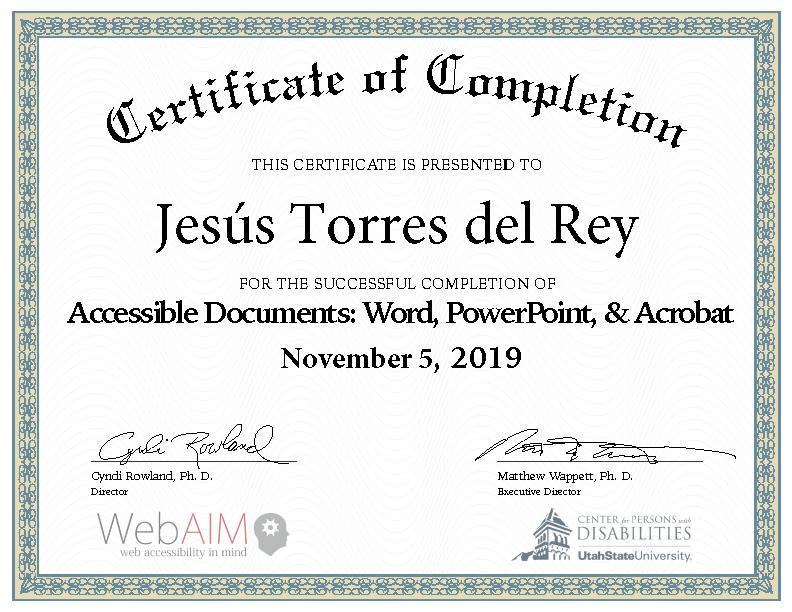 Certificado de curso completado, 5 de noviembre de 2019
