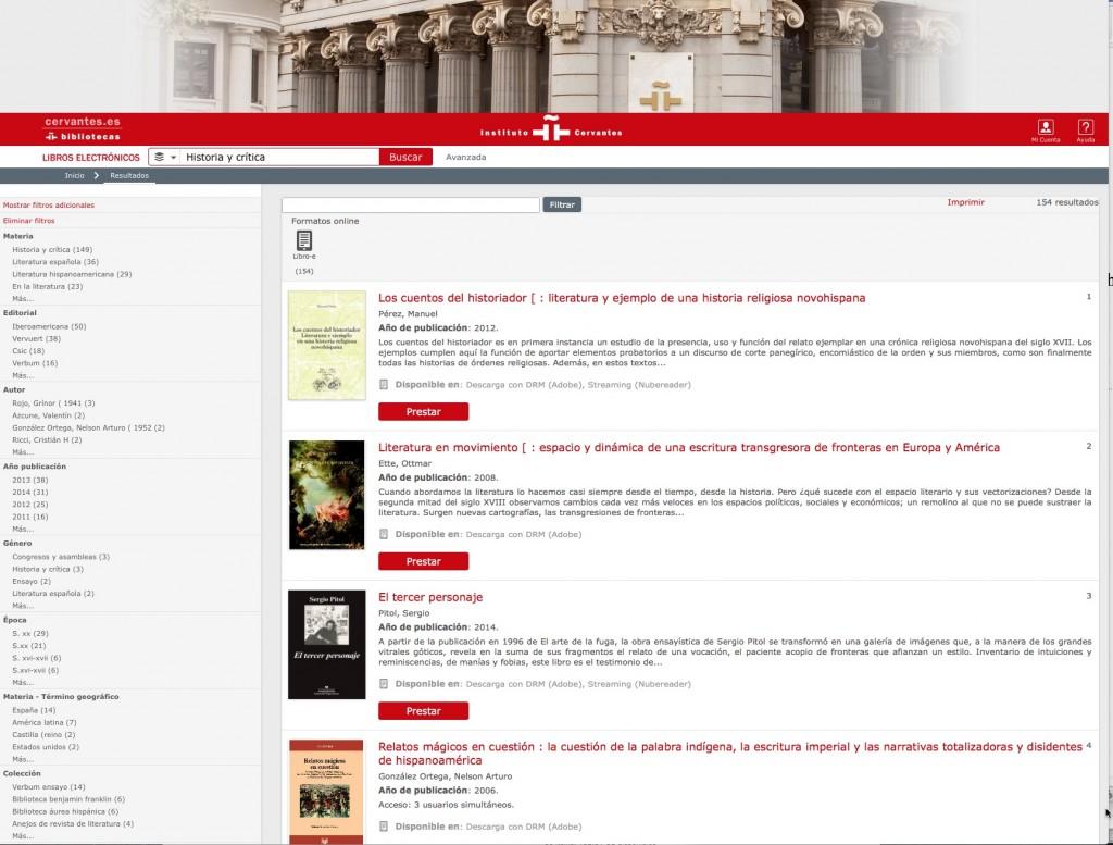 Historia y crítica en la Biblioteca electrónica del Cervantes